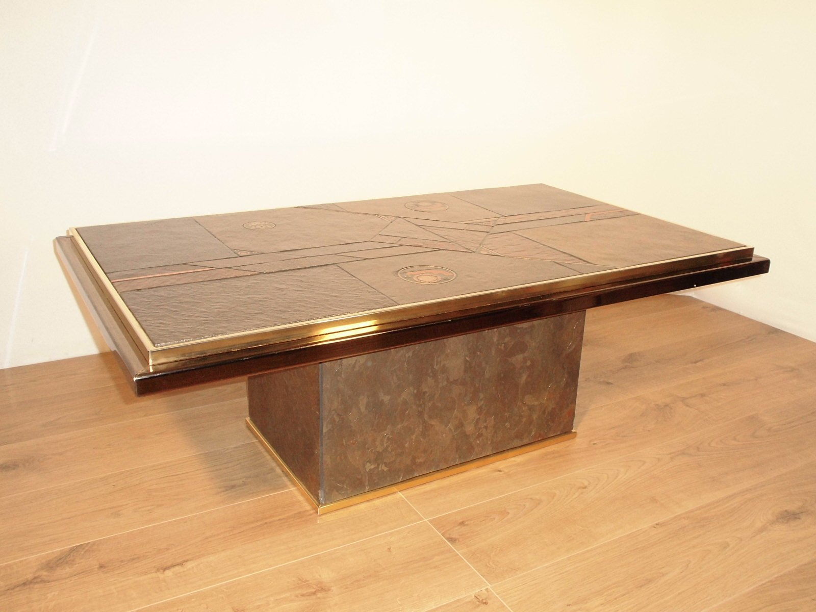 Stone and bronze coffee table by paul kingma 1970 for sale at pamono Bronze coffee tables