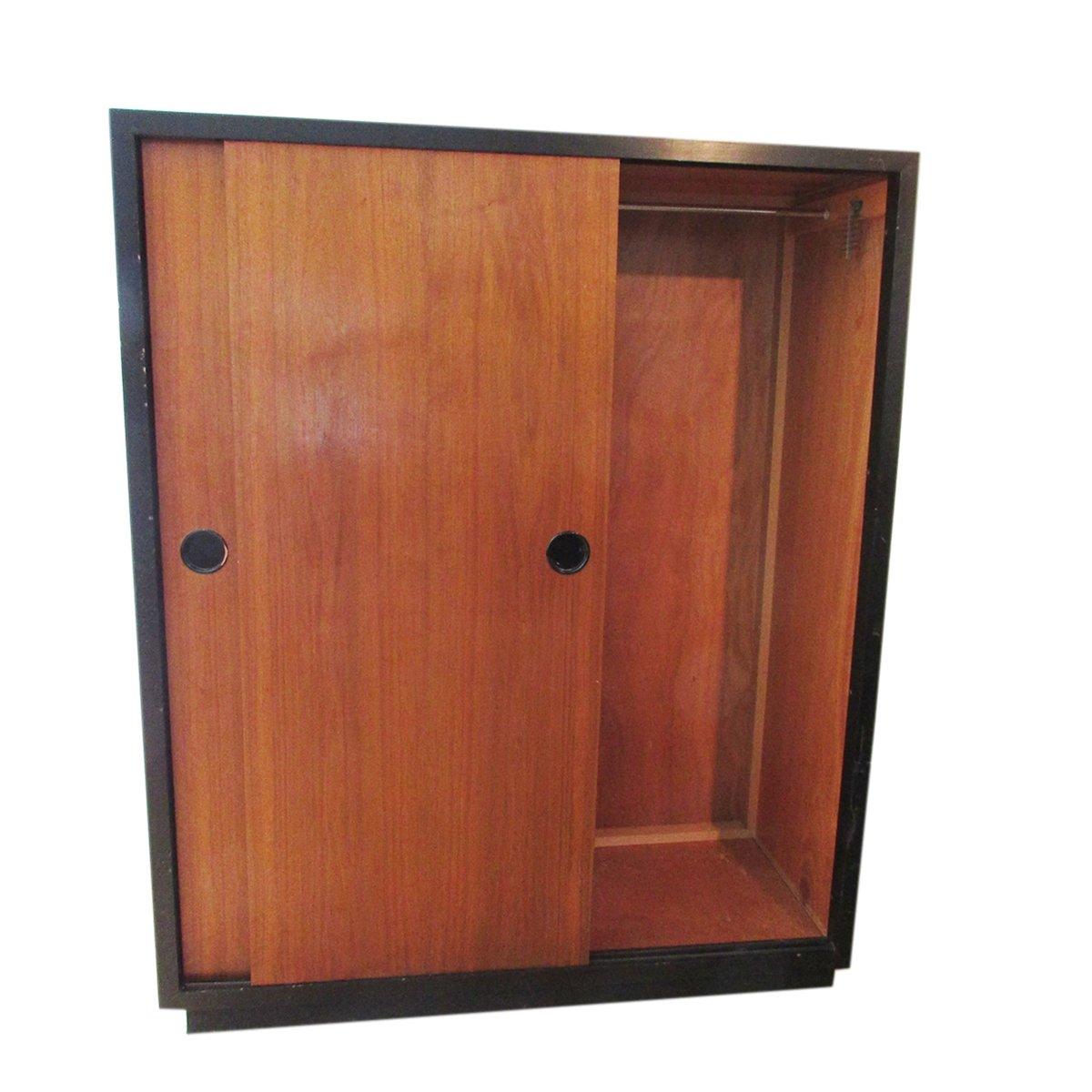 schweizer teak kleiderschrank mit schiebet ren von kurt thut 1950er bei pamono kaufen. Black Bedroom Furniture Sets. Home Design Ideas