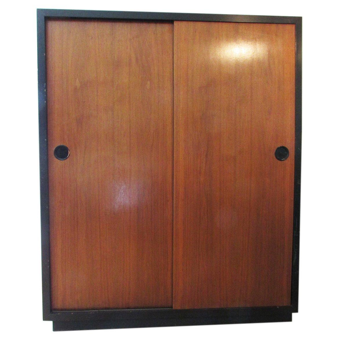 swiss teak armoire with sliding doors by kurt thut s for sale  - swiss teak armoire with sliding doors by kurt thut s