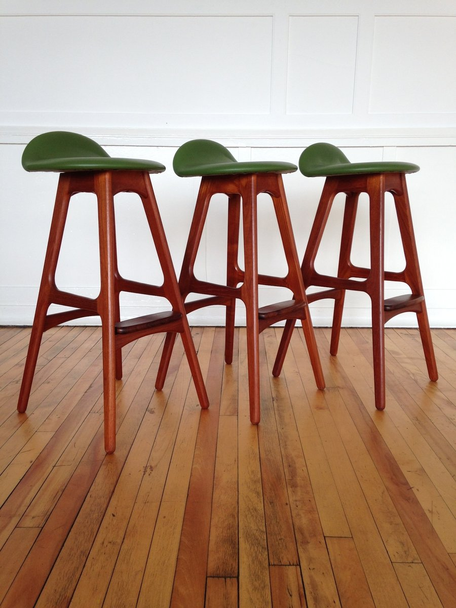 Vintage Danish Teak And Rosewood Counter Bar Stools By