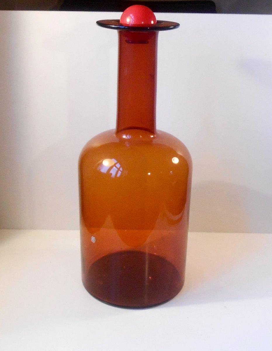 Delightful Large Vintage Glass Floor Vase By Otto Brauer For Holmegaard/Kastrup