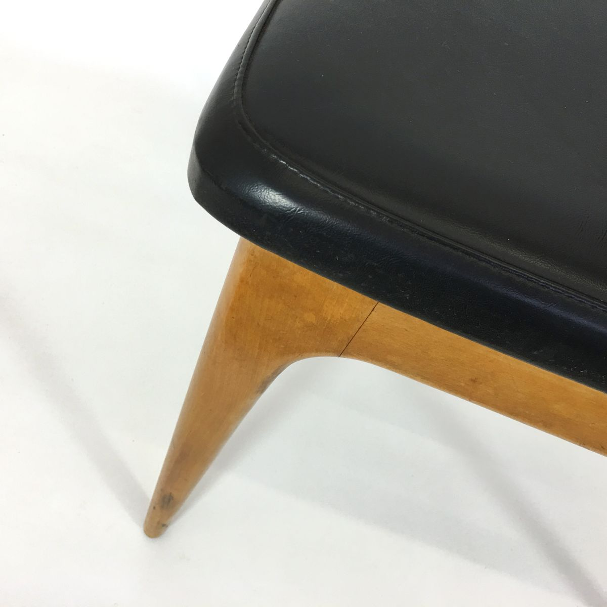Vintage wooden amp leatherette dining chairs set of 4 for sale at