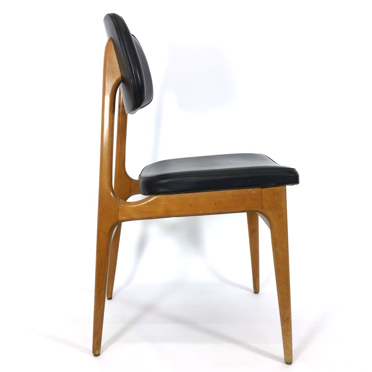 Vintage Wooden Amp Leatherette Dining Chairs Set Of 4 For