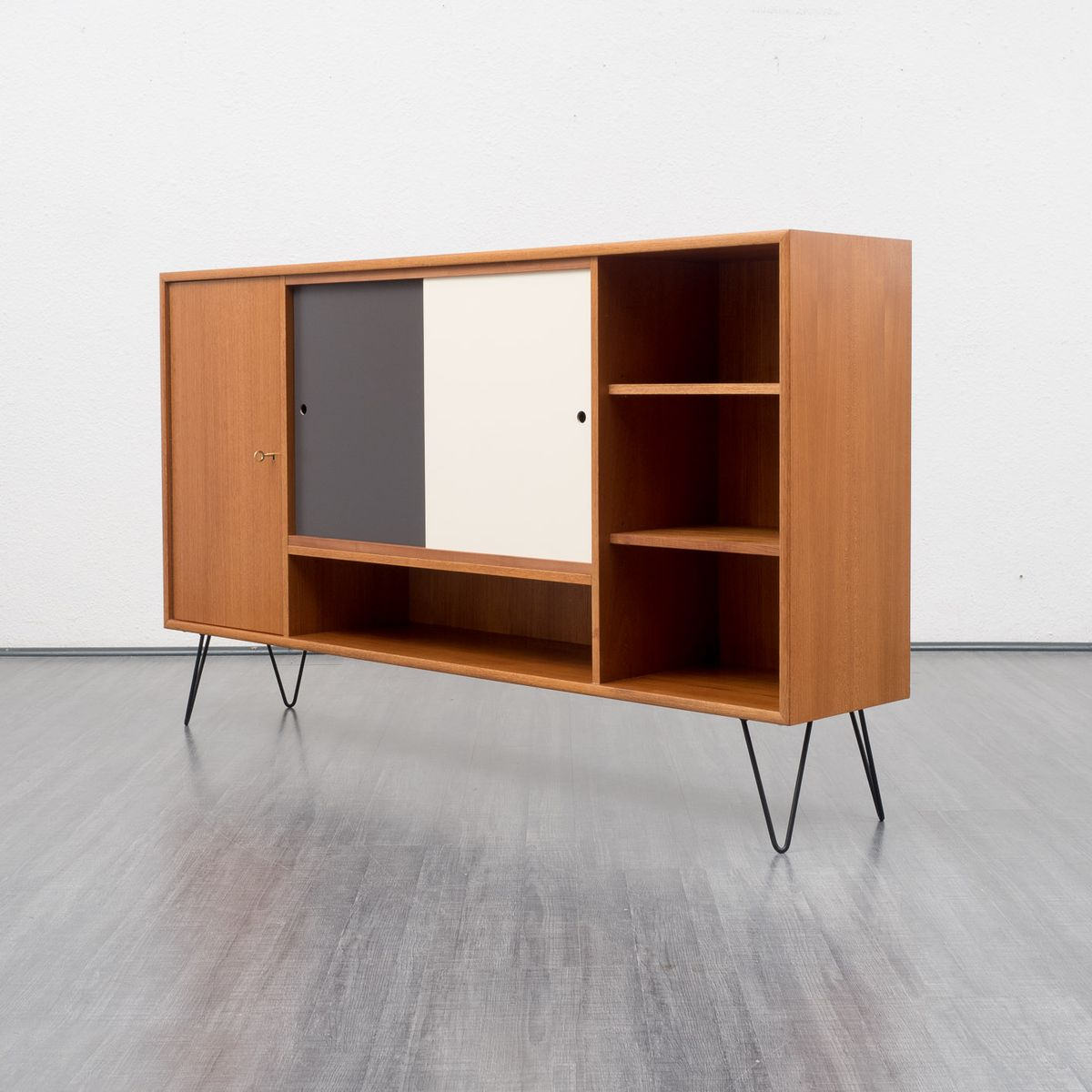 Teak sideboard with sliding doors and hairpin legs 1960s for Sideboard petrol