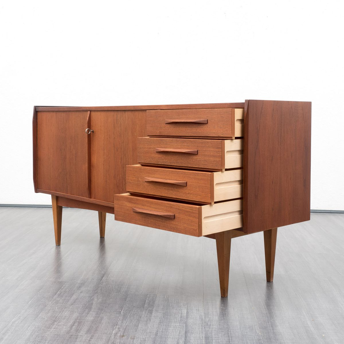 scandinavian teak sideboard for vkw m bel 1960s for sale. Black Bedroom Furniture Sets. Home Design Ideas