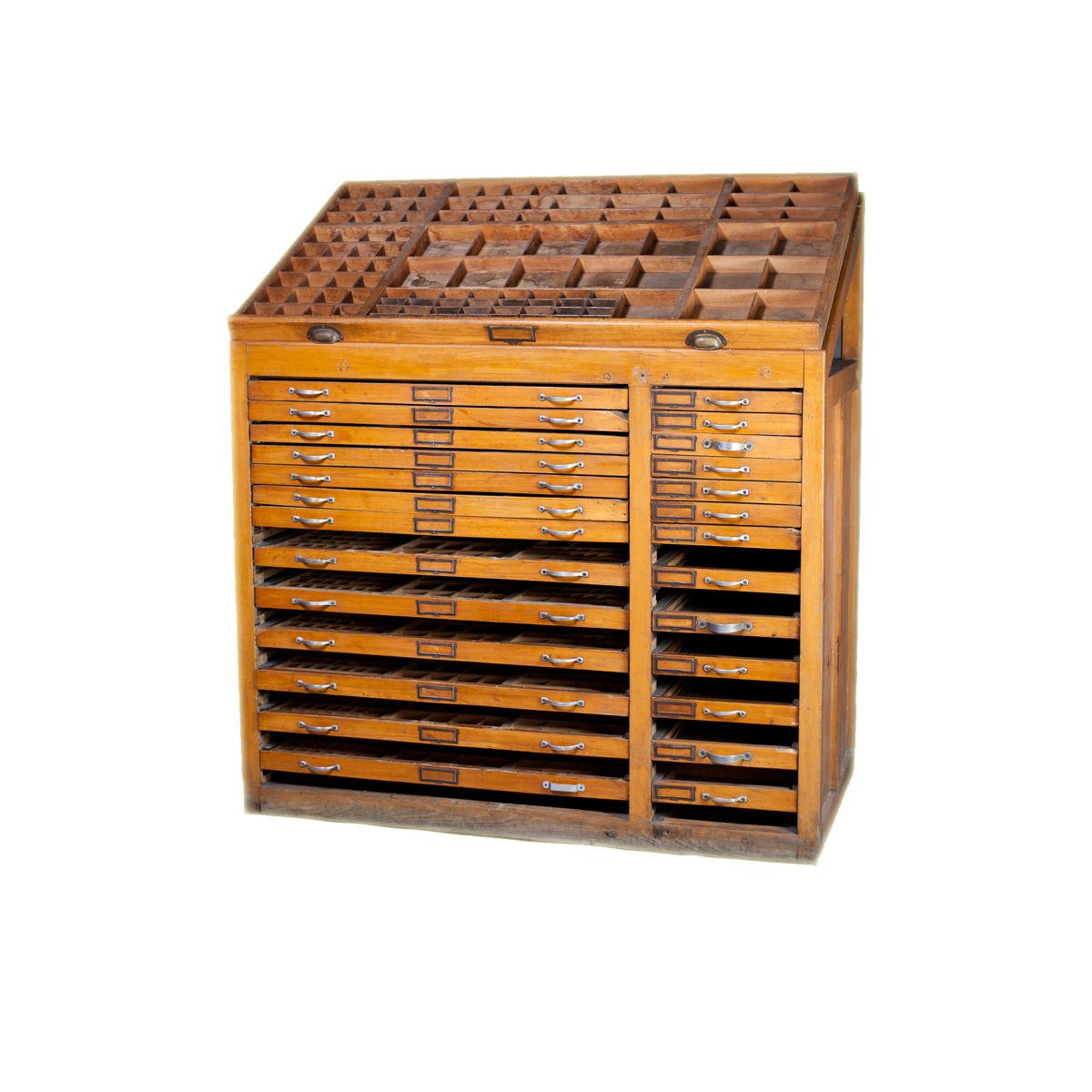 Antique Printers Cabinet, 1890s for sale at Pamono