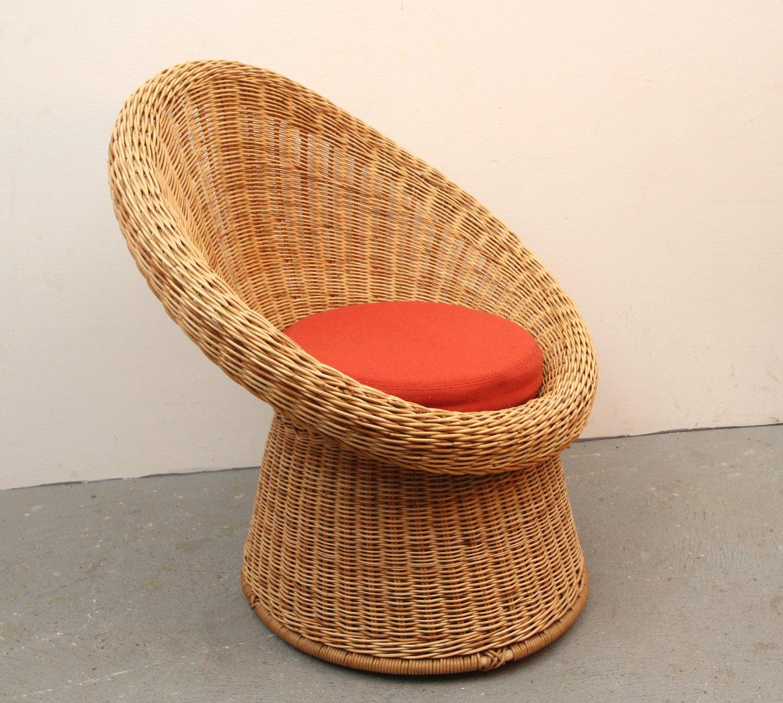 rattan korbsessel 1960er bei pamono kaufen. Black Bedroom Furniture Sets. Home Design Ideas