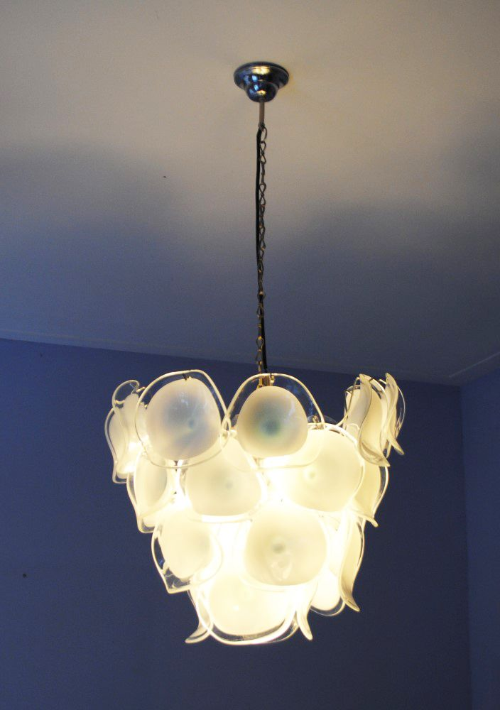 Italian blown glass chandelier from mazzega 1960s for Blown glass chandelier