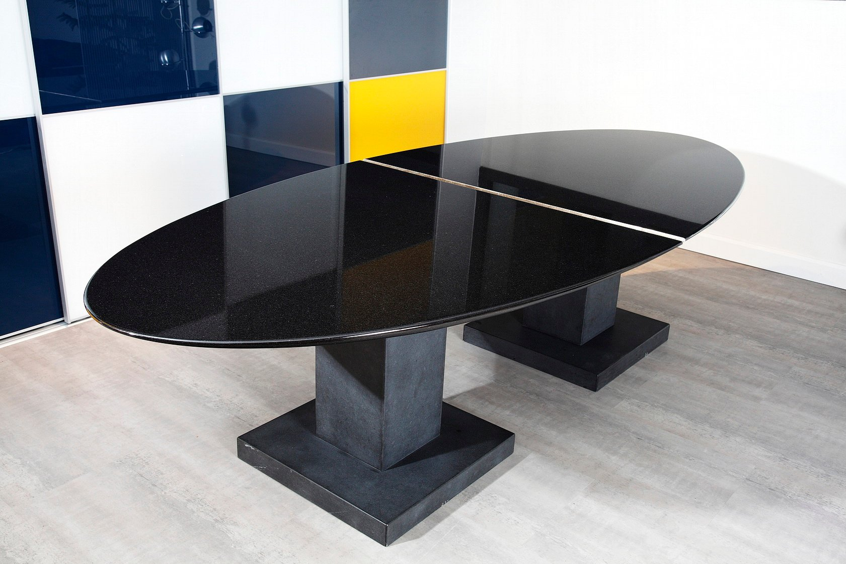 Black Granite Dining Table By Michael Prentice For Sale At
