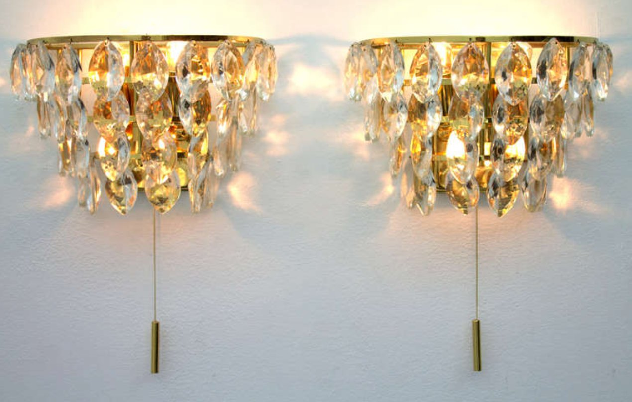 Crystal Glass Wall Sconces, 1960s, Set of 2 for sale at Pamono