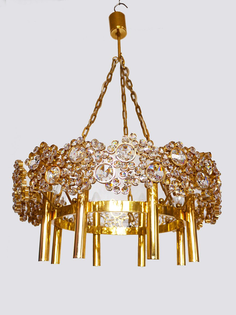 Large German Gilded Brass Amp Crystal Lamp Chandelier From