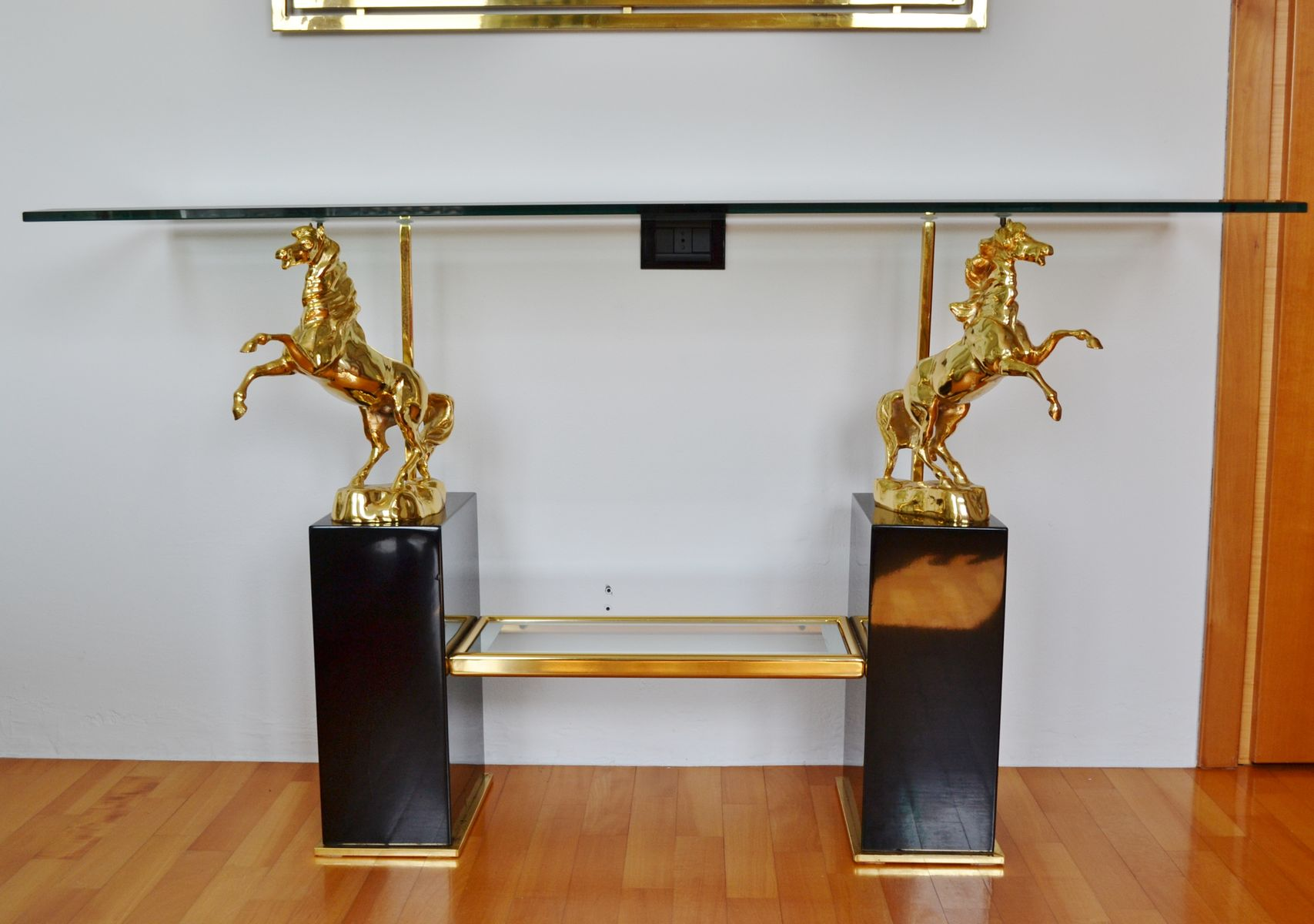 Glass console table with mirror - Italian Regency Style Crystal Glass Console Brass Mirror 1960s