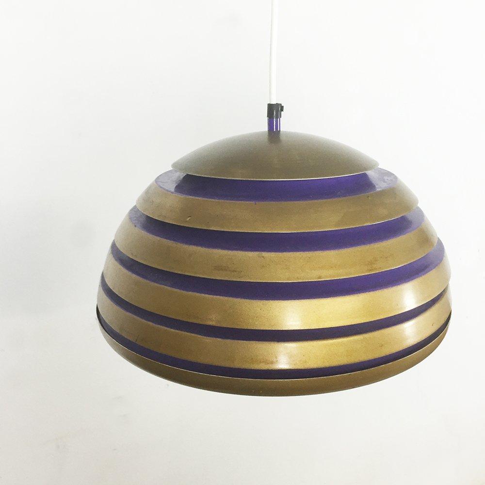 skandinavische h ngelampe aus kupfer lila metall 1960er. Black Bedroom Furniture Sets. Home Design Ideas