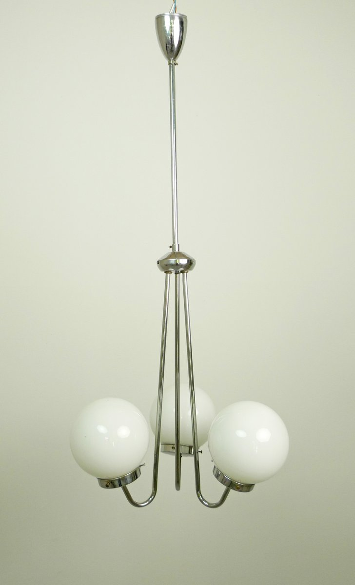 czech art deco pendant lamp with three glass globes from zukov 1940s. Black Bedroom Furniture Sets. Home Design Ideas