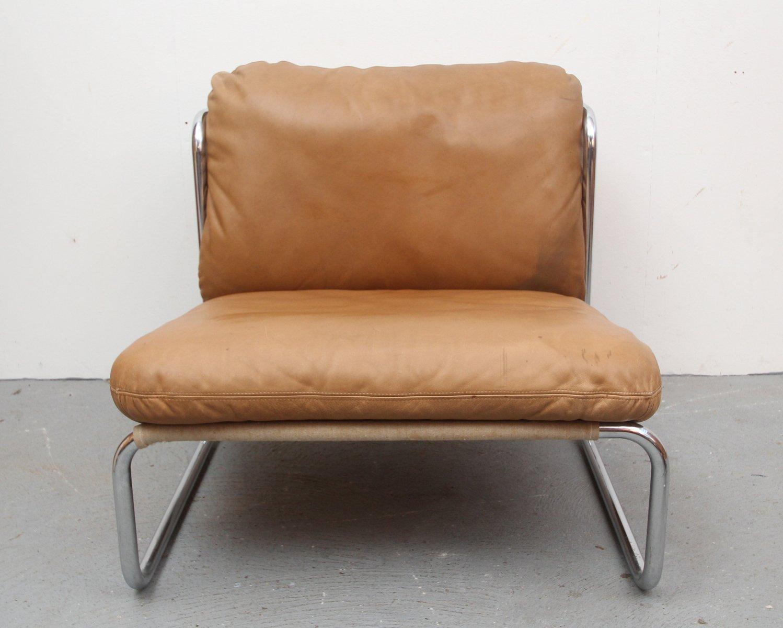 cognacfarbener vintage ledersessel ottoman bei pamono kaufen. Black Bedroom Furniture Sets. Home Design Ideas