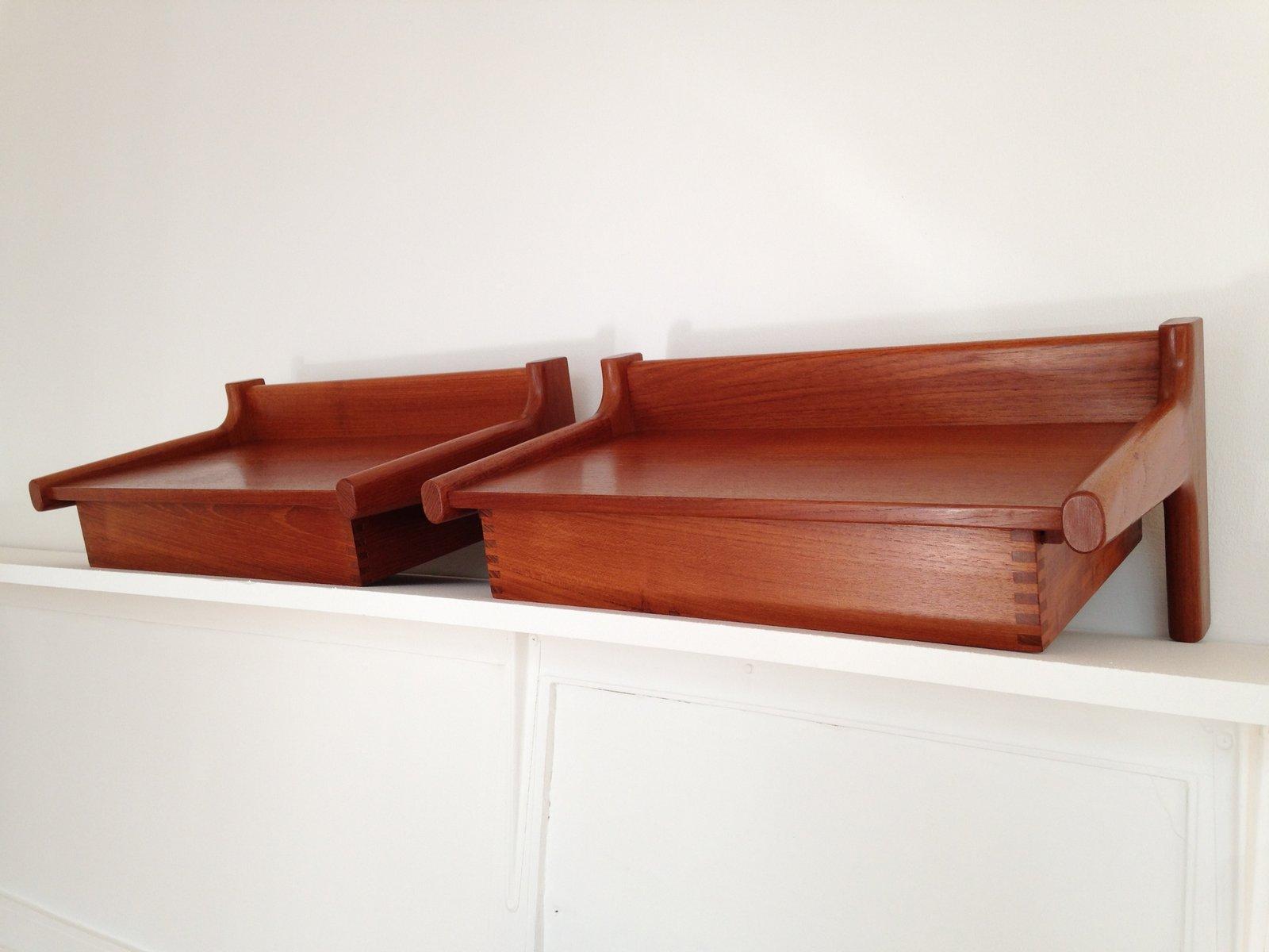 mid century danish wall mounted teak bedside tables by. Black Bedroom Furniture Sets. Home Design Ideas