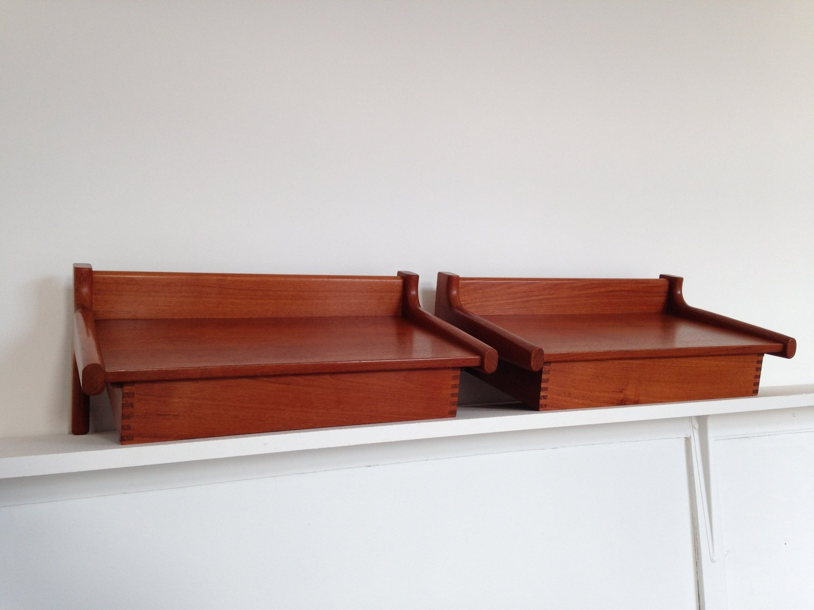 Mid Century Danish Wall Mounted Teak Bedside Tables By
