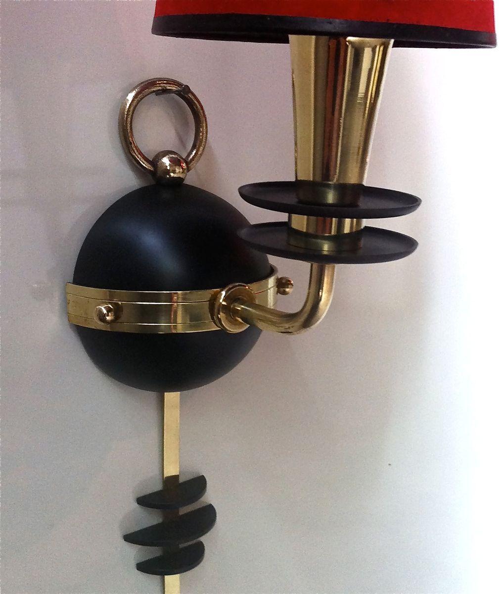 franz sische wandlampe mit lampenschirm aus rotem papier bei pamono kaufen. Black Bedroom Furniture Sets. Home Design Ideas
