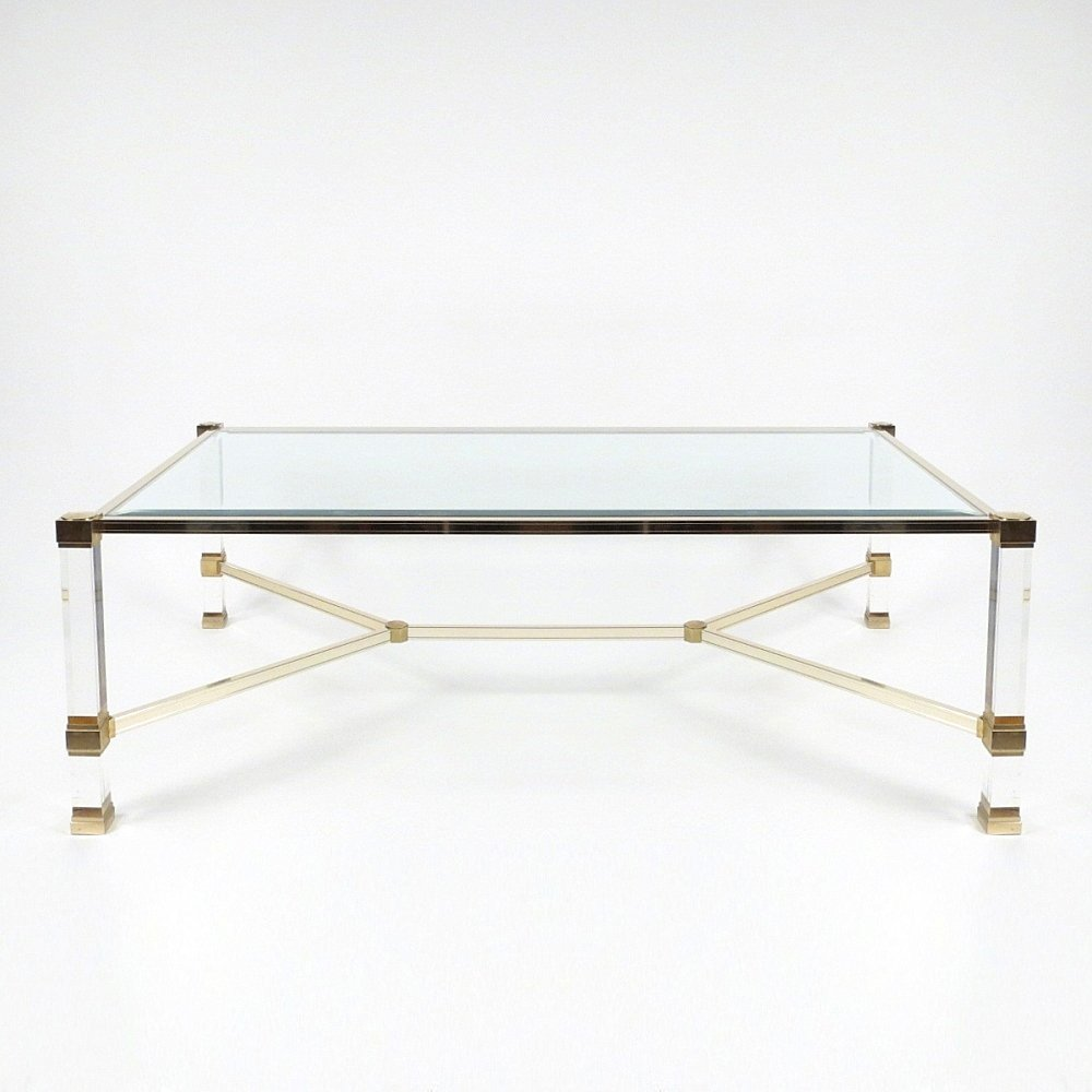French lucite glass coffee table by pierre vandel 1970s for French glass coffee table