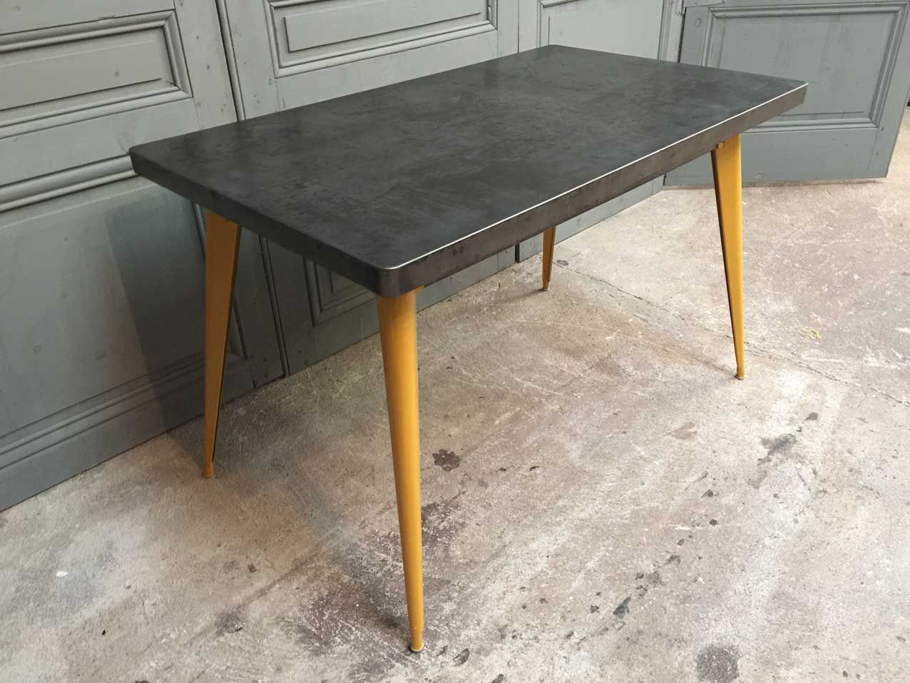 xavier pauchard french industrial dining room furniture. Xavier Pauchard French Industrial Dining Room Furniture. Furniture T55 Table With Yellow Feet By