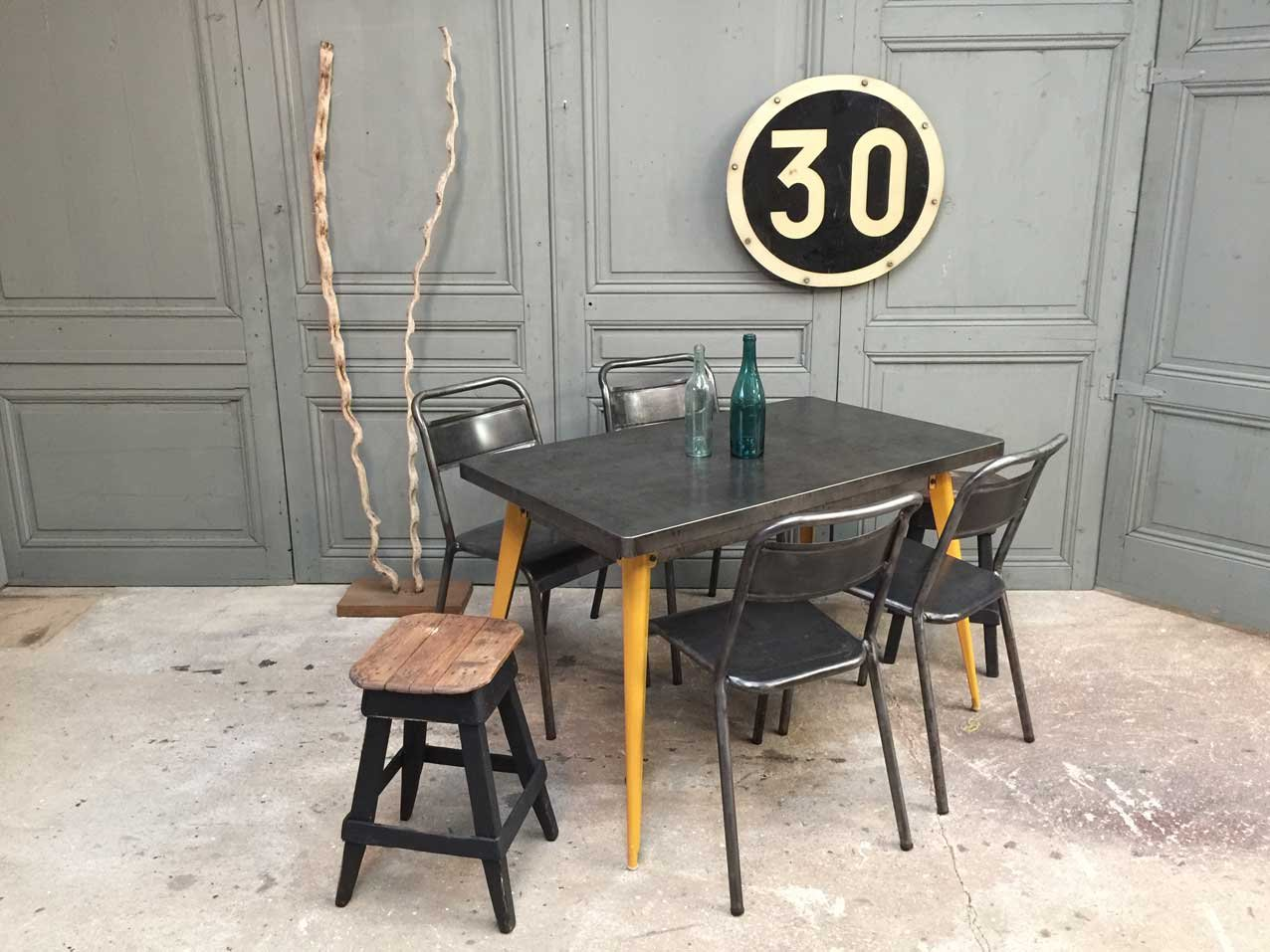 xavier pauchard french industrial dining room furniture. french t55 table with yellow feet by xavier pauchard for tolix 1950s industrial dining room furniture a