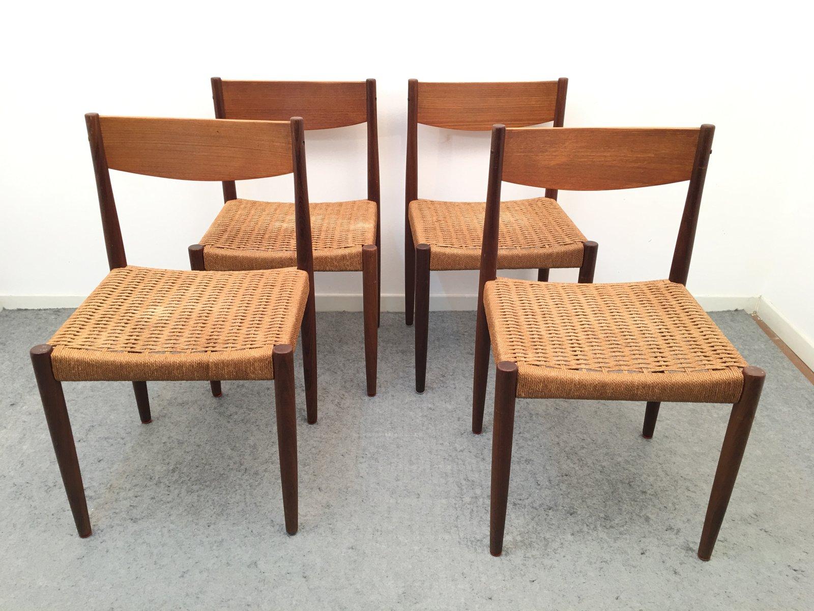 chaises en teck et en cordes de papier par h sigh s n danemark 1960s set de 4 en vente sur. Black Bedroom Furniture Sets. Home Design Ideas