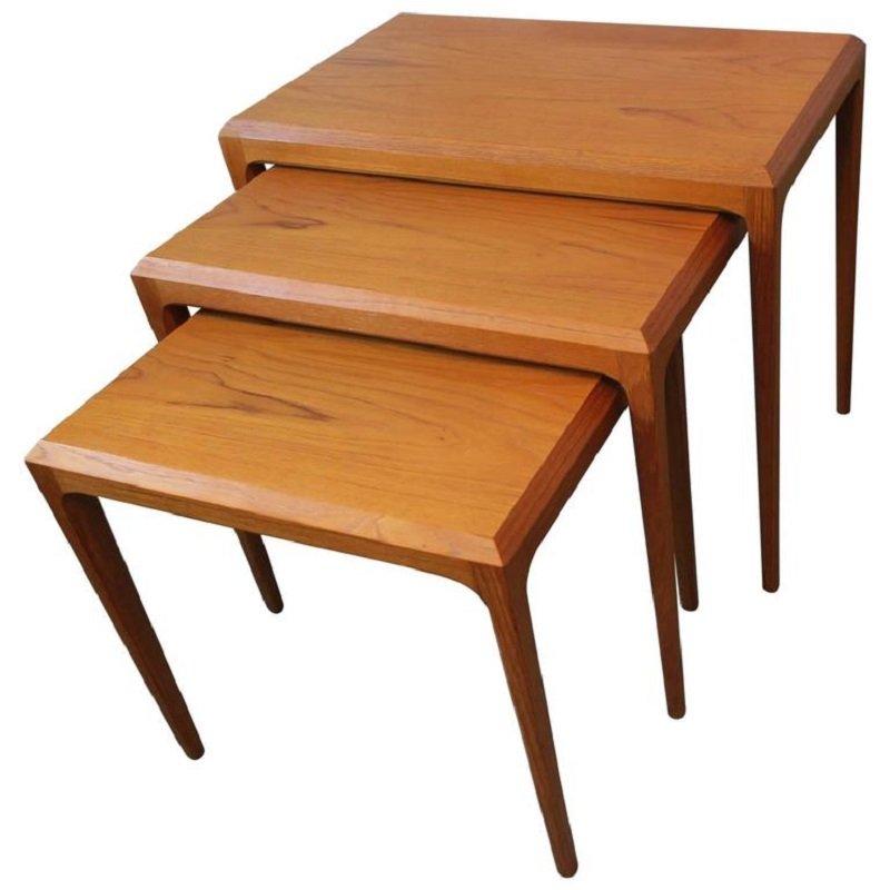 Mid century danish teak nesting tables by johannes
