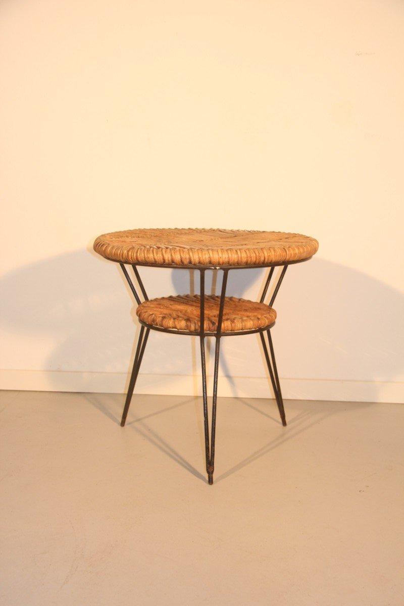 Italienischer couchtisch aus bambus metallgestell 1950 for Couchtisch metallgestell