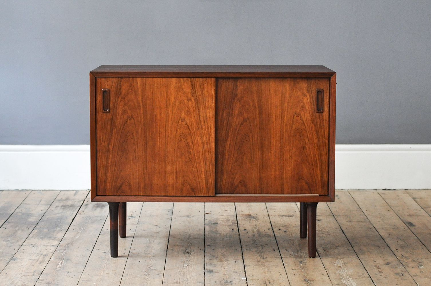 danish rosewood sideboard with sliding doors 1960s for. Black Bedroom Furniture Sets. Home Design Ideas