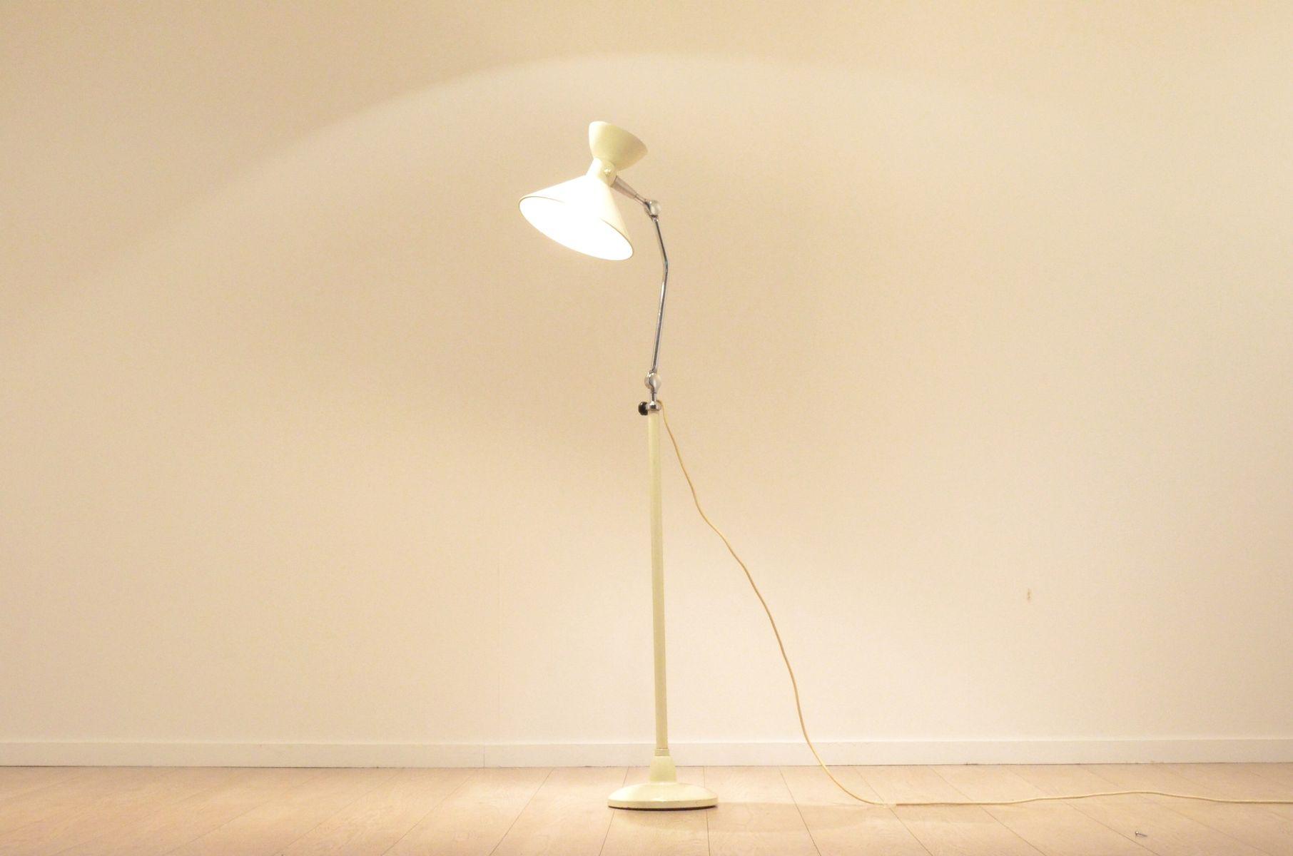 franz sische wei e mid century diabolo stehlampe von jumo. Black Bedroom Furniture Sets. Home Design Ideas