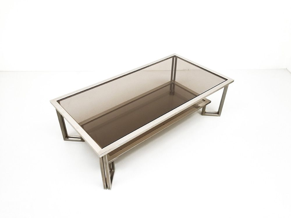 Vintage Chrome Smoked Glass Coffee Table 1970s For Sale