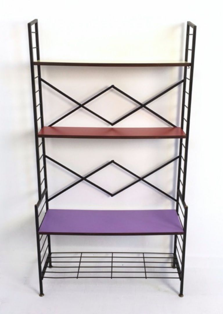 vintage regal in lila rot und gelb bei pamono kaufen. Black Bedroom Furniture Sets. Home Design Ideas