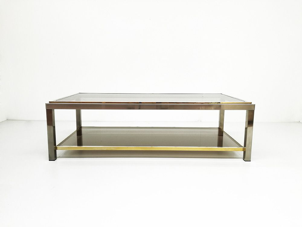 Vintage smoked glass gold metal coffee table 1970s for sale at pamono Gold metal coffee table