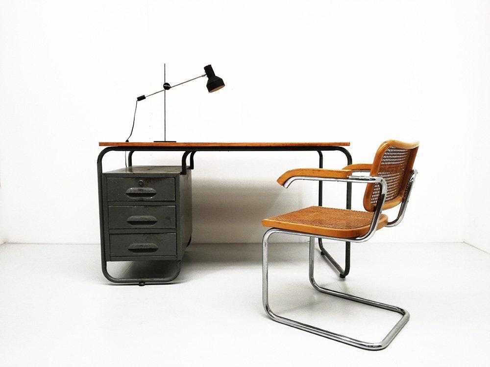 vintage schreibtisch aus buchenholz mit rohrrahmen bei pamono kaufen. Black Bedroom Furniture Sets. Home Design Ideas