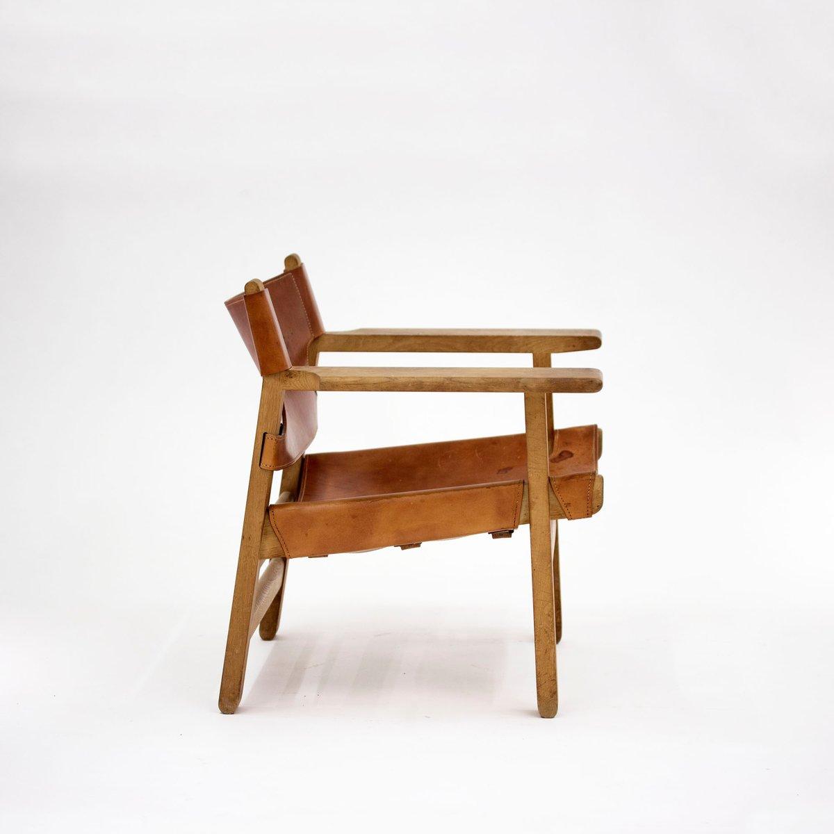 Sedia in quercia e pelle di b rge mogensen per fredericia for Sedia scandinava
