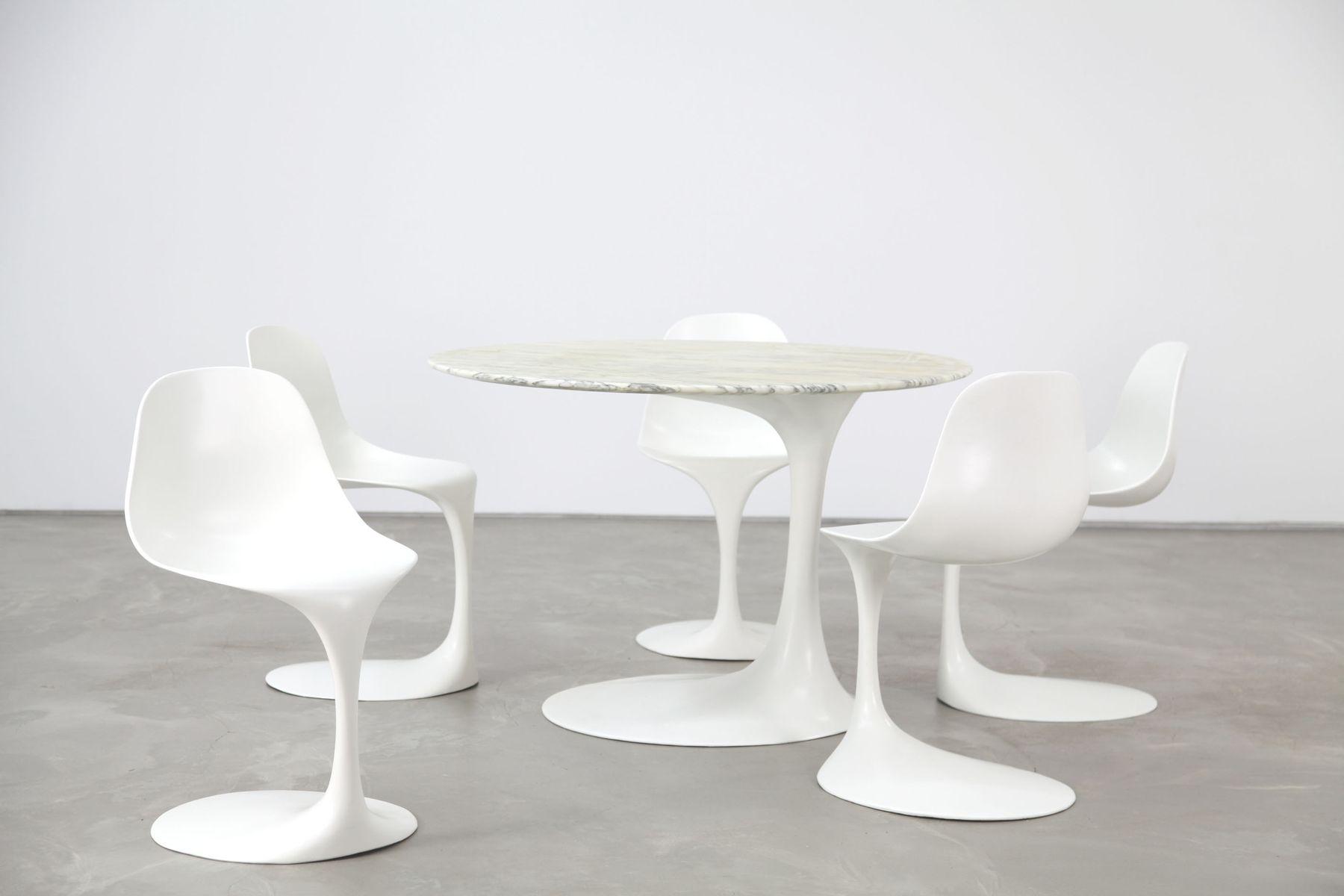 Table et chaises de salle manger en fibre de verre par rudi bonzanini pour tecnosalotto for Quelle chaise pour table en verre
