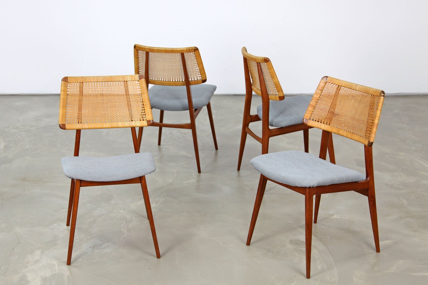 Danish Teak and Wicker Dining Chairs 1960s Set of 4 for  : danish teak and wicker dining chairs 1960s set of 4 1 from www.pamono.co.uk size 1800 x 1200 jpeg 152kB