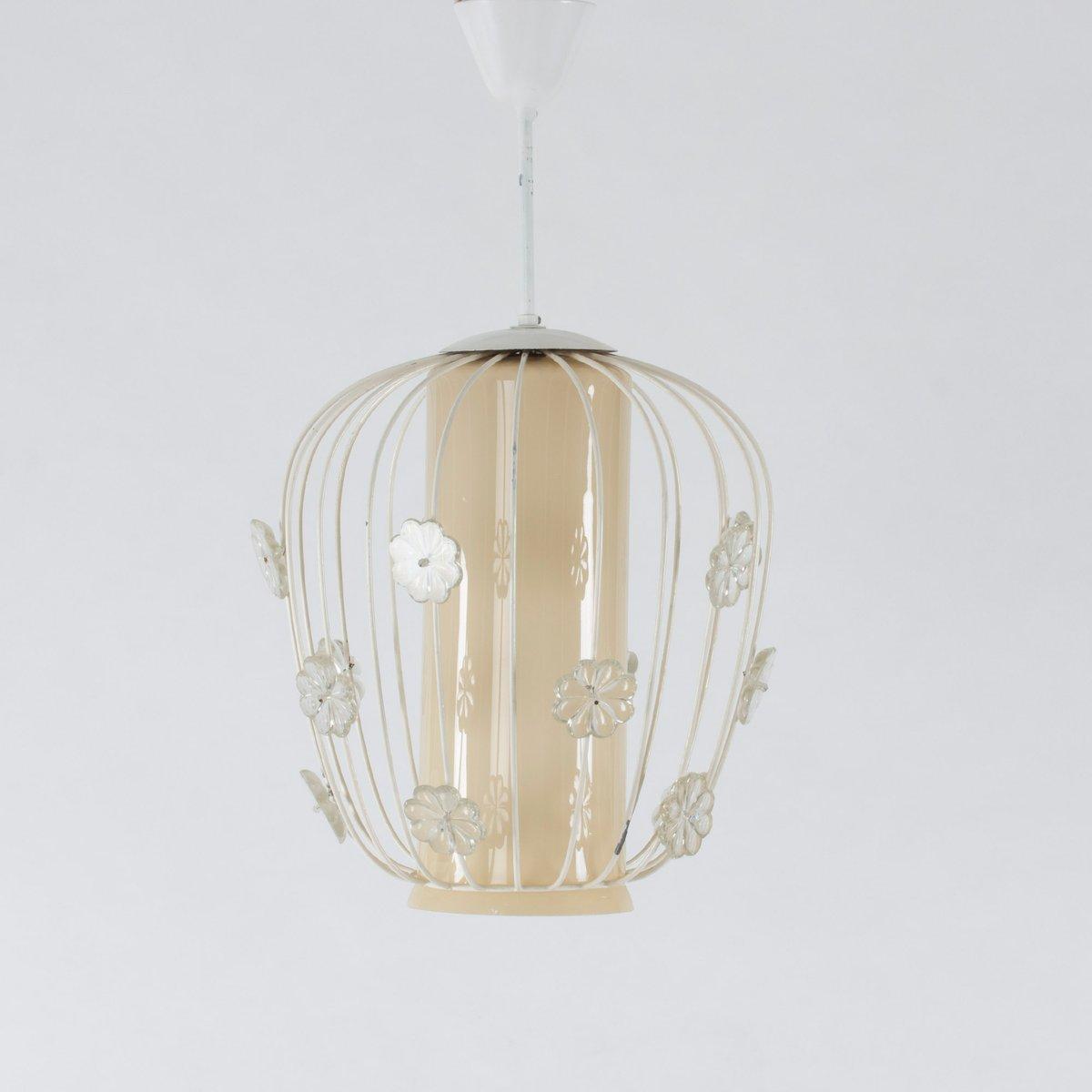 schwedische deckenlampe aus glas lackiertem metall. Black Bedroom Furniture Sets. Home Design Ideas