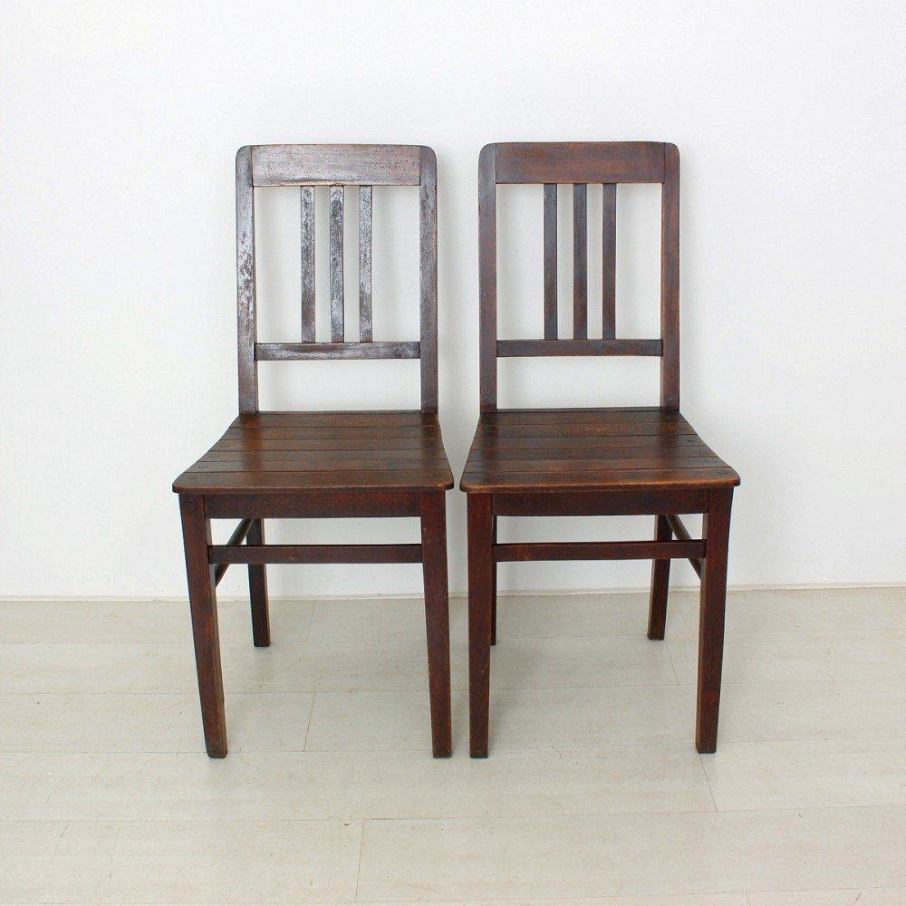 chaises vintage en bois 1920s set de 2 en vente sur pamono. Black Bedroom Furniture Sets. Home Design Ideas