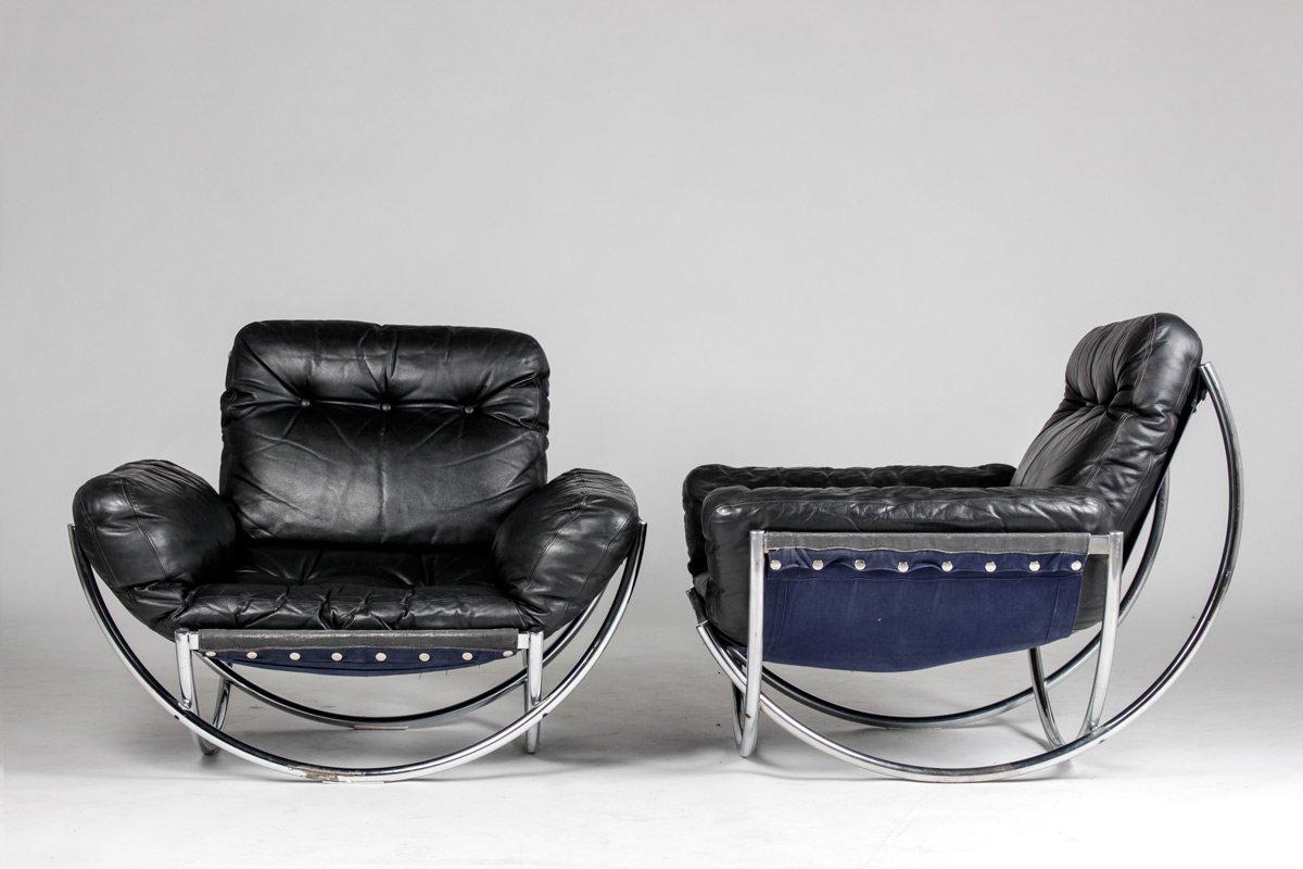 Schwedische wibro sessel aus leder chrom von lennart for Sessel aus leder