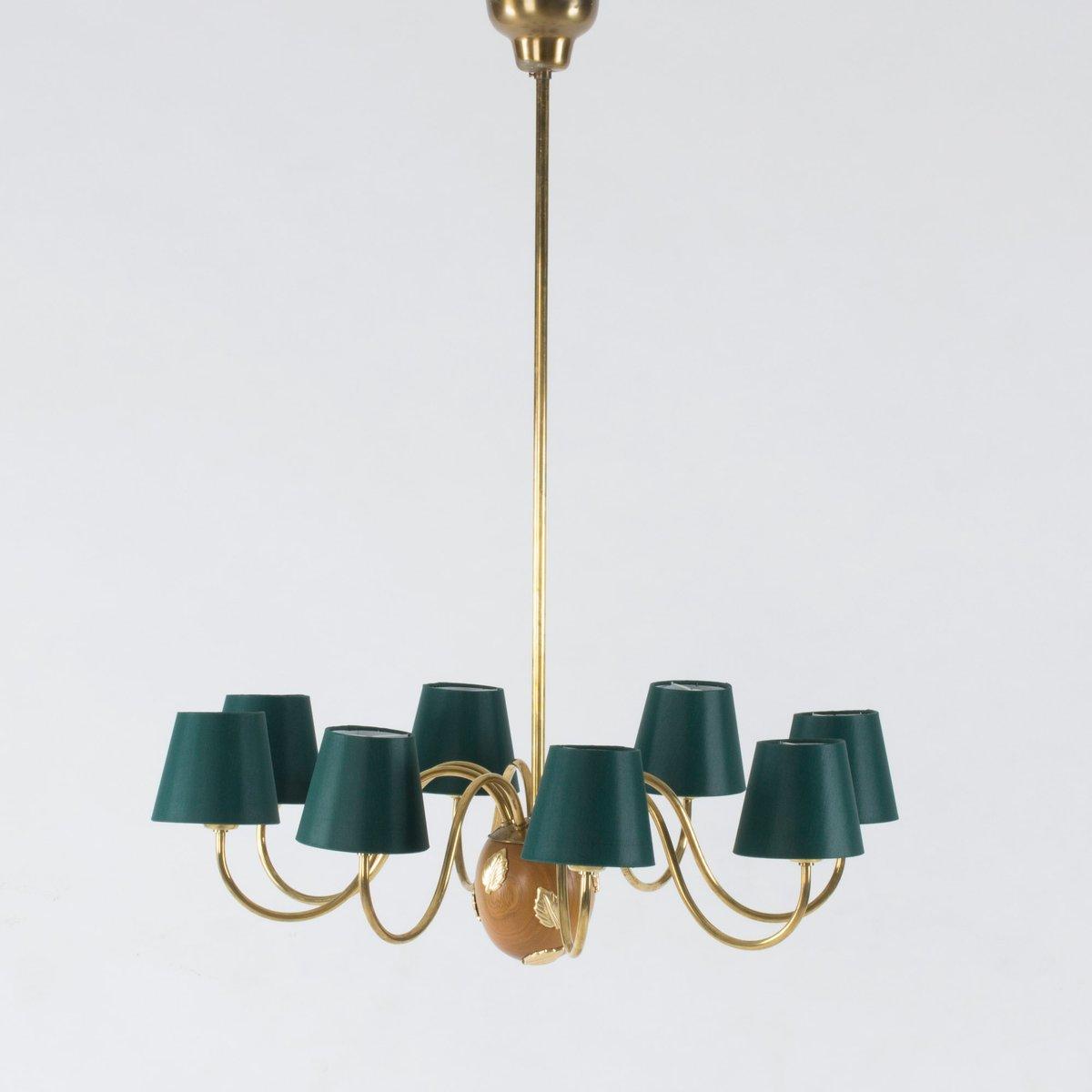 Swedish mahogany and brass chandelier by hans bergstrm for swedish mahogany and brass chandelier by hans bergstrm for atelji lyktan 1950s for sale at pamono arubaitofo Gallery