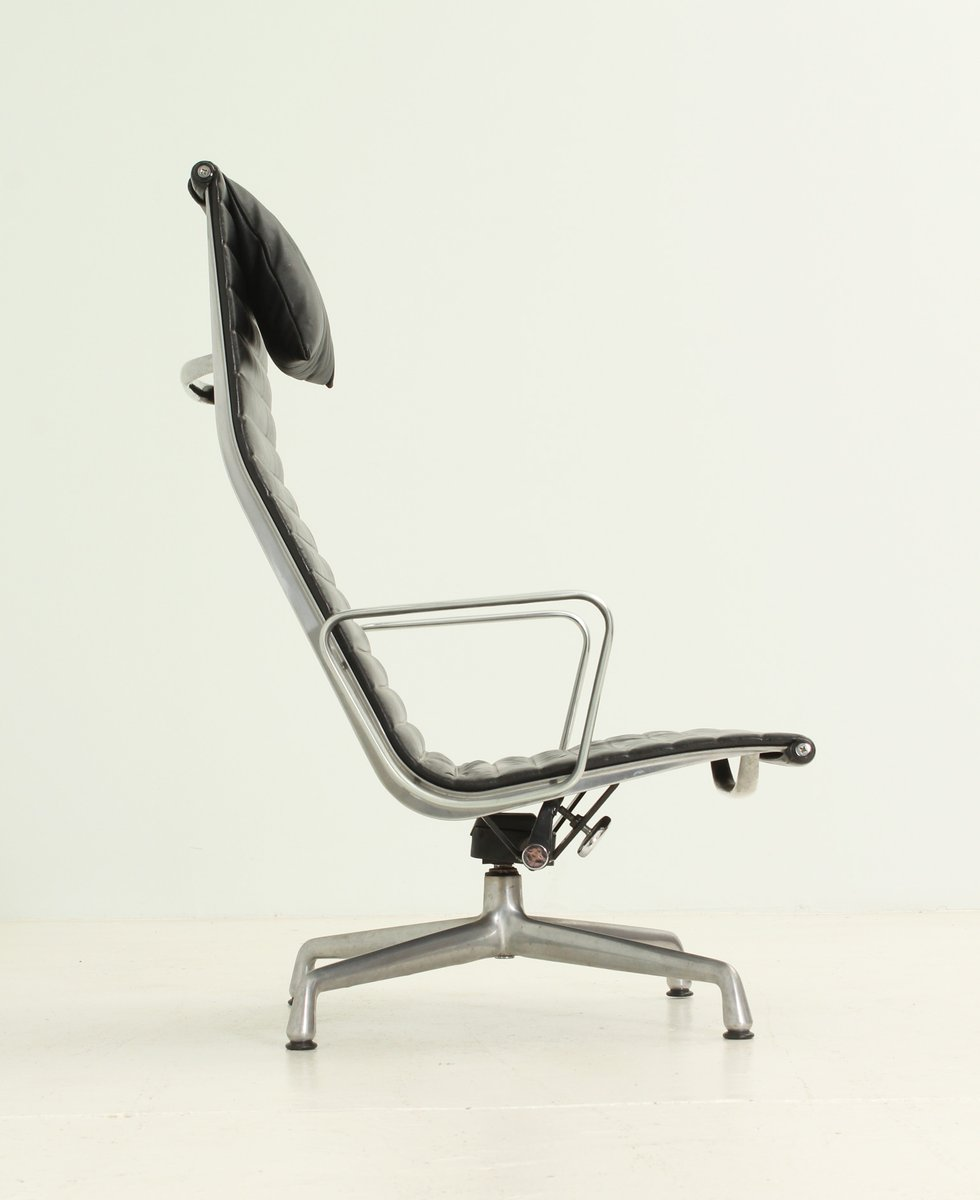 Ea124 black leather lounge chair by charles and ray eames for Charles eames lounge chair preisvergleich
