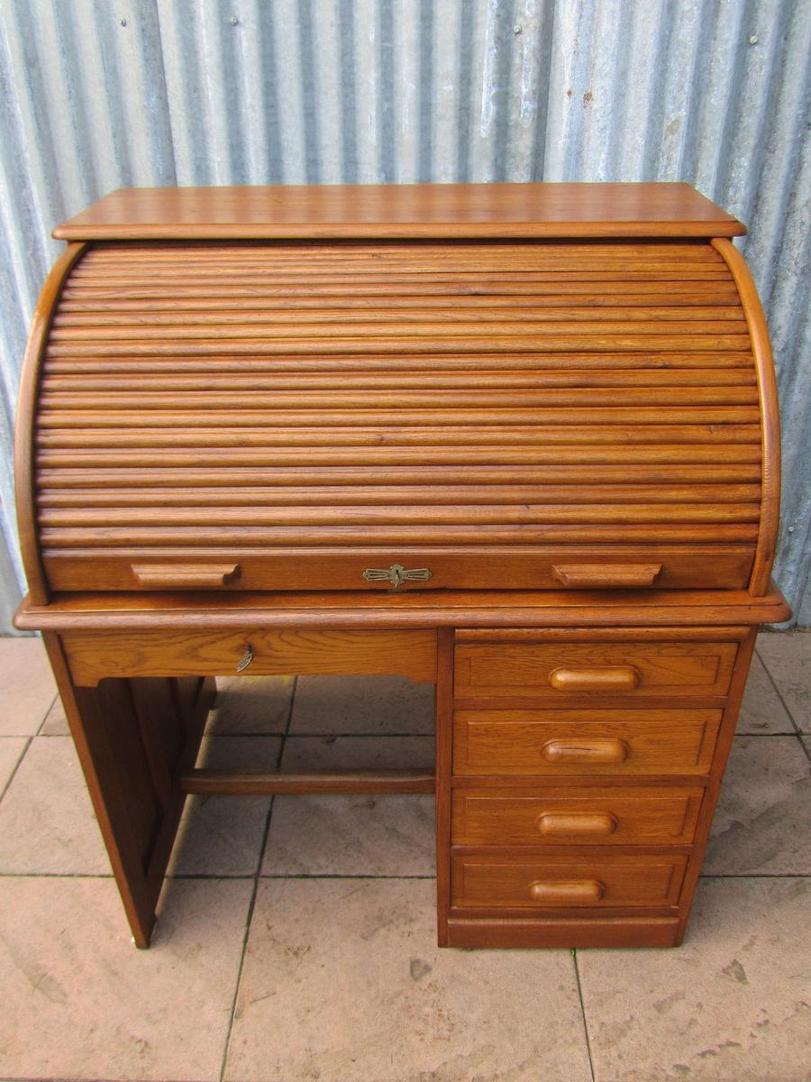 Vintage British Oak Roll Top Desk 1930s For Sale At Pamono
