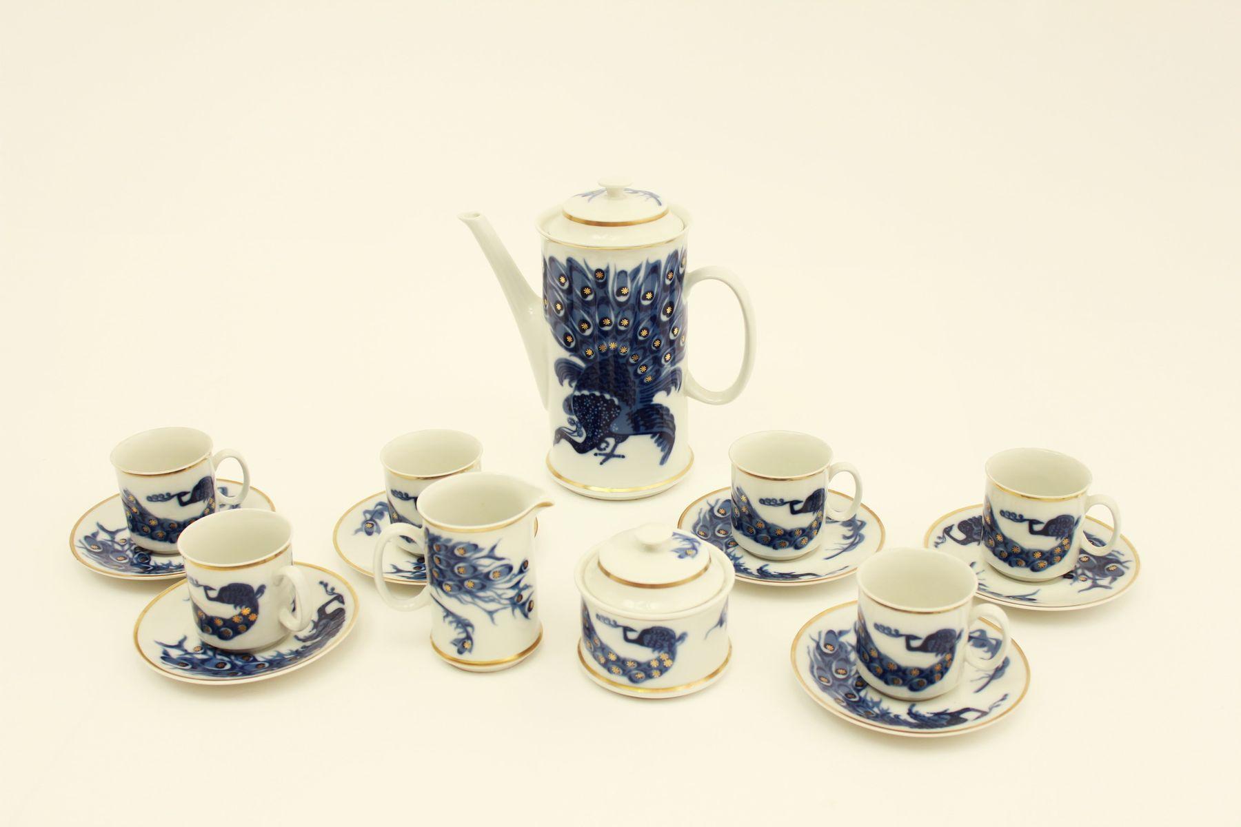 Vintage Josefina Peacock Porcelain Coffee Set By V Clav