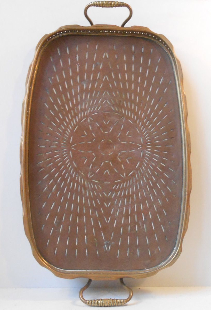 large art deco copper brass serving tray 1930s for sale at pamono. Black Bedroom Furniture Sets. Home Design Ideas