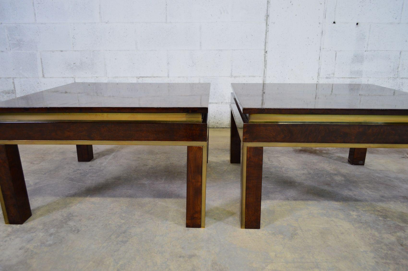 italienischer wurzelholz messing couchtisch 1970er bei. Black Bedroom Furniture Sets. Home Design Ideas