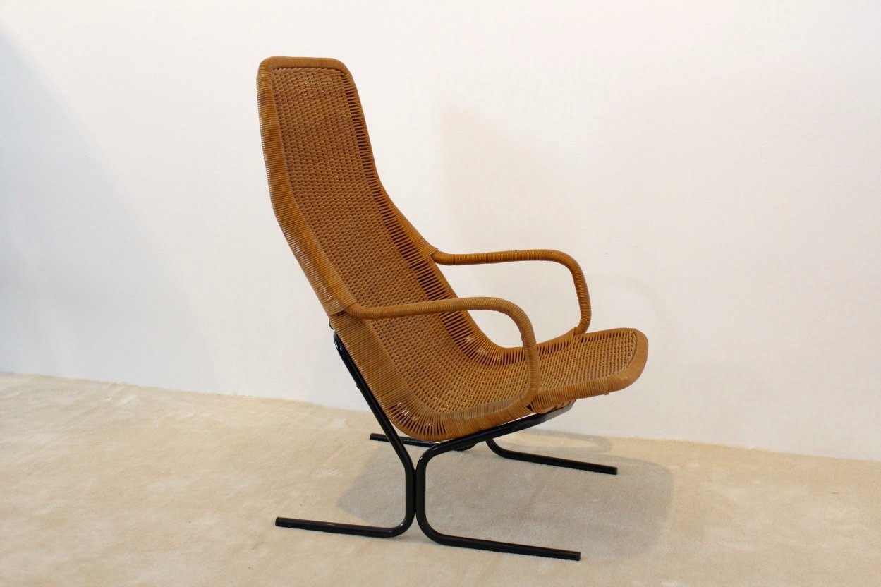 Model 514 wicker lounge chair by dirk van sliedregt for for Rattan barhocker