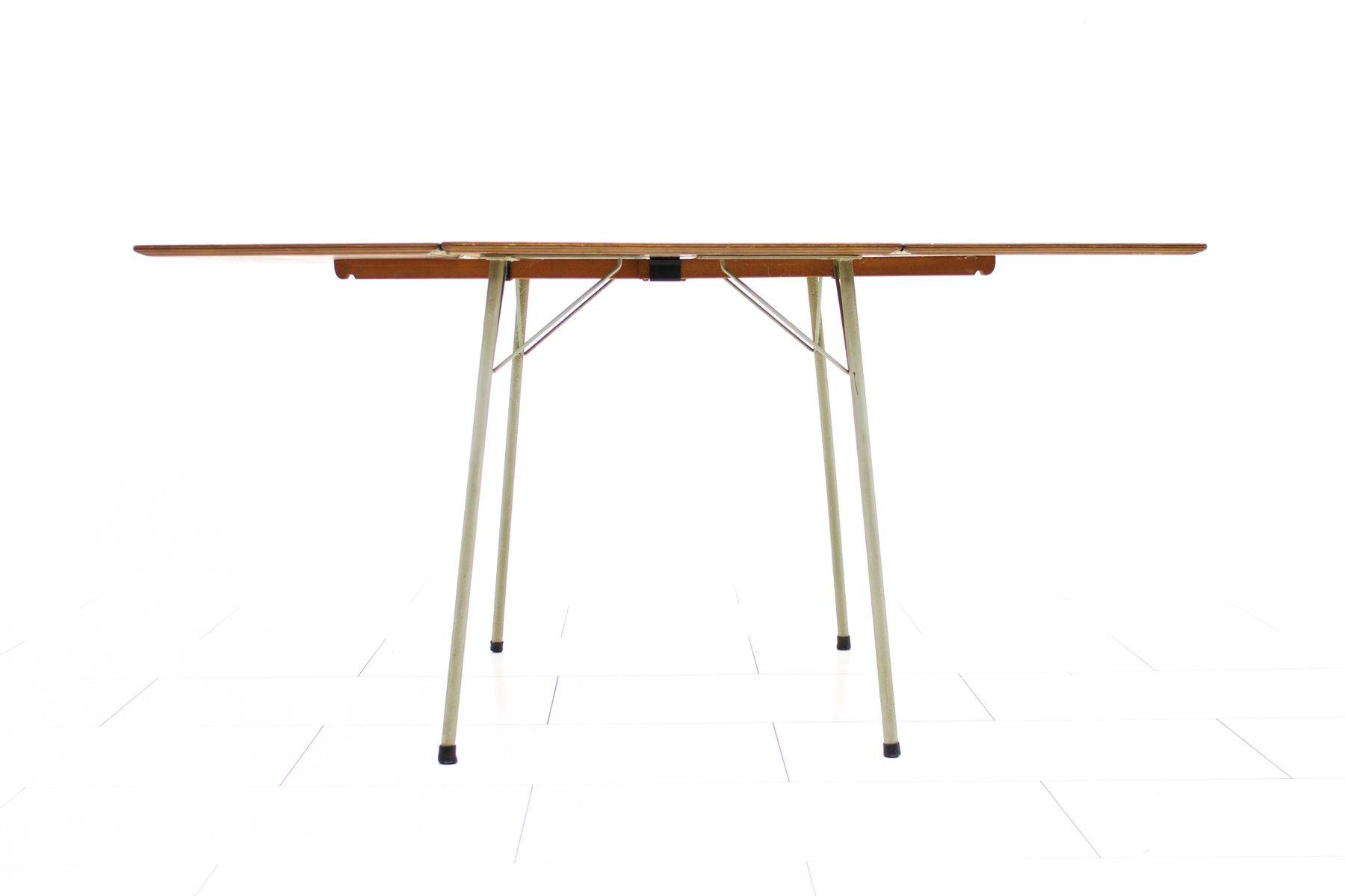 Table de salle manger en teck avec abattant par arne for Table de salle a manger 3 metres