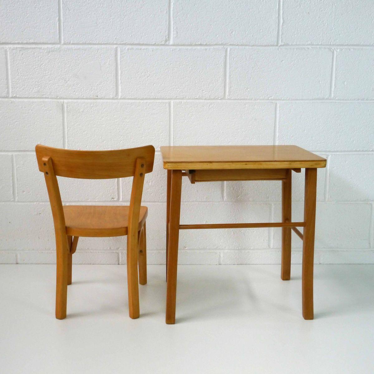vintage kinder schreibtisch stuhl set von baumann bei. Black Bedroom Furniture Sets. Home Design Ideas