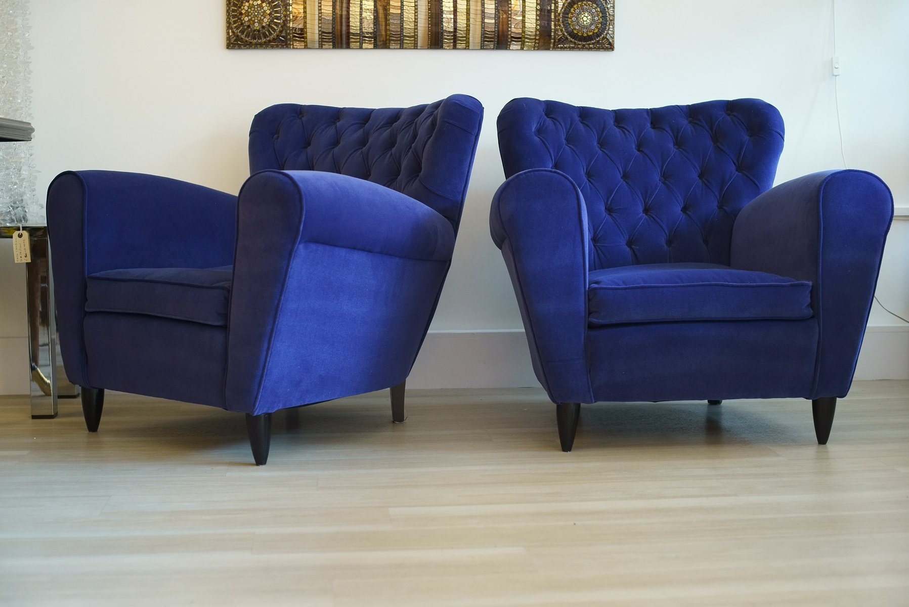 blaue samtsessel von gugliemo ulrich 1950er 2er set bei. Black Bedroom Furniture Sets. Home Design Ideas